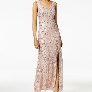 Nightway Sequined Lace Slit Gown Dress Size 6 Sequ